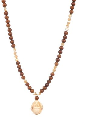Yochi Design Yochi Wood & Mother of Pearl Beads with Buddha Necklace