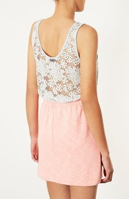 Topshop Sheer Back Floral Lace Tank