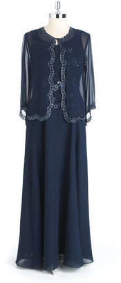 J Kara Two-Piece Beaded Gown