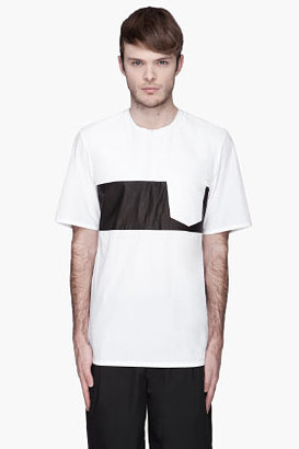 Alexander Wang White trapunto and leather contrast t-shirt