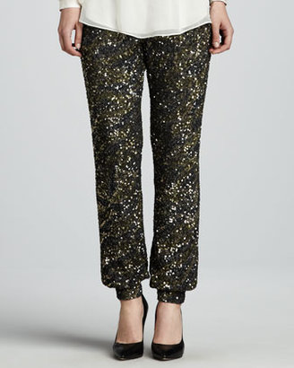 Haute Hippie Sequined Cuffed Pants