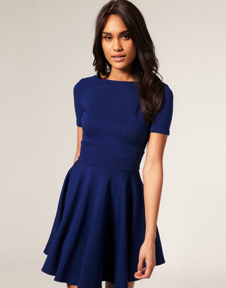 Asos Ponti Dress in Fit And Flare with Short Sleeve