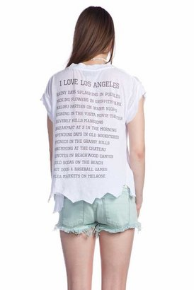 Wildfox Couture I Love Los Angeles Rip Back Tee in Clean White