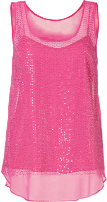 DKNY Silk Sequined Top in Charming Pink