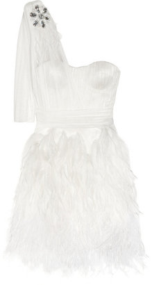 Matthew Williamson - Feather-trimmed Silk-tulle Mini Dress - Off-white $6,500 thestylecure.com