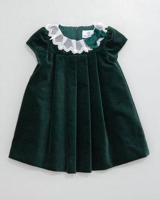 Florence Eiseman Lace-Collar Velvet Dress, 3-9 Months