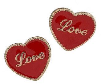 Miss Selfridge Red Love Heart Stud Earrings