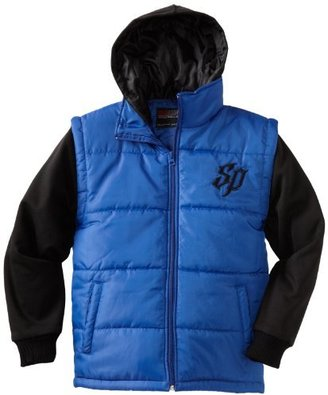 Southpole Kids Boys 8-20 Twofer Padded Vest with Long Sleeve Fleece Hoody