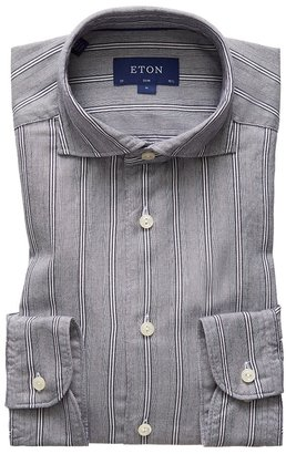 Eton Soft Indigo Striped Cotton-tencel Shirt - Slim Fit