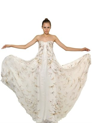 Alexander McQueen Dragon Fly Print Silk Chiffon Long Dress