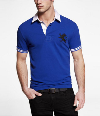 Express Fitted Large Lion Rugby Collar Polo