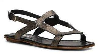 Santoni Metallic Leather Flat Sandal
