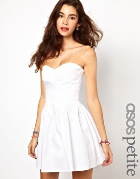 Asos Exclusive Strapless Skater Dress With Waist Detail - White