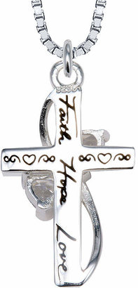 FINE JEWELRY Inspired Moments Cubic Zirconia Heart Cross Pendant Sterling Silver Necklace
