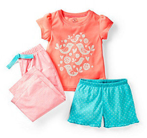 Carter's Girls' 4-14 Peach 3-pc. Bird Pajama Set