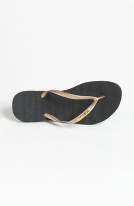 Havaianas 'Slim Logo' Metallic Flip Flop (Women)
