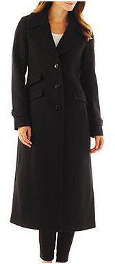 WORTHINGTON Worthington Wool-Blend Classic Long Tailored Coat