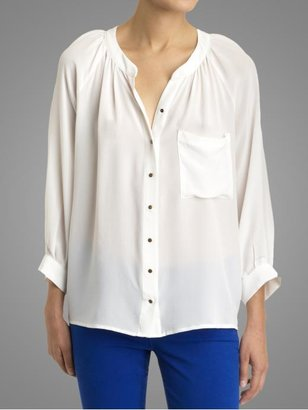 Red Carter Greylin Silk Button Down Blouse