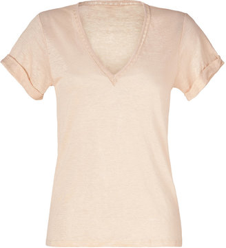 Vanessa Bruno Beige-Rose Cotton V-Neck T-Shirt