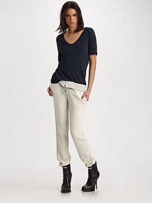 Alexander Wang Fold-Over Cotton Sweatpants