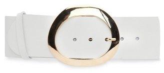 MANGO Maxi-buckle leather waist belt