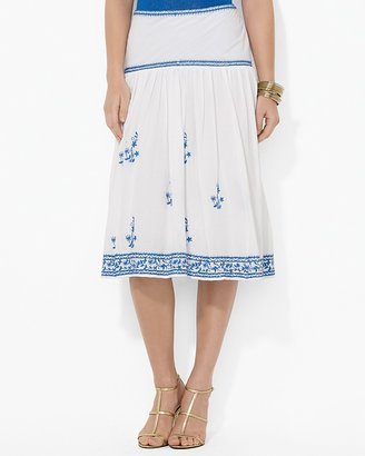 Lauren Ralph Lauren Embroidered Cotton Skirt