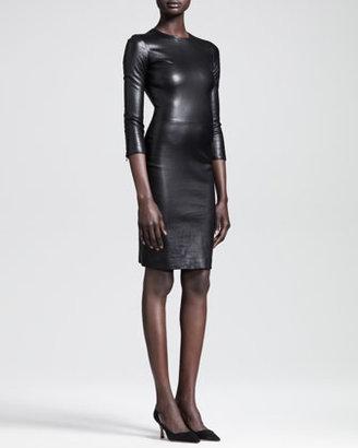 The Row Shiny Stretch-Leather Dress, Black