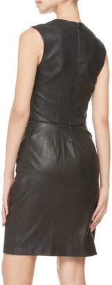 ADAM by Adam Lippes Sleeveless Stretch Leather Dress, Black