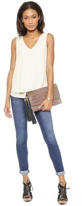 Zac Posen Claudette Large Croc Embossed Fold Over Clutch