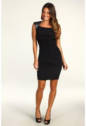 Nicole Miller Open Back Sequin Heavy Stretch Dress (Black) - Apparel