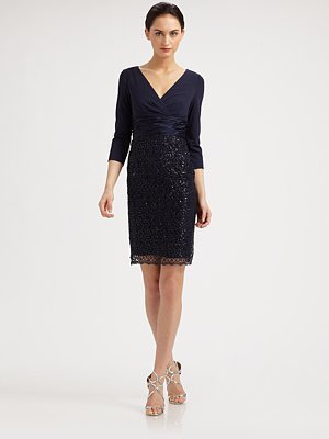 Kay Unger Jersey and Lace Dress