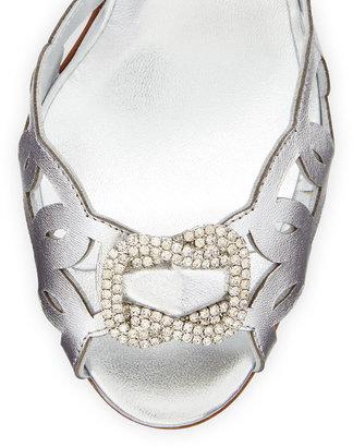 Manolo Blahnik Charmed Crystal-Buckle Cutout Pump, Silver