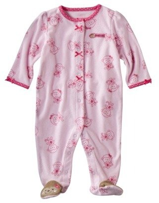 Carter's JUST ONE YOU Made by Newborn Girls' Monkey Terry Sleep N' Play - Pink/Brown