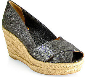Tory Burch Filipa - Pewter Espadrille Wedge