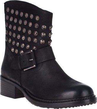Lola Cruz Studded Ankle Boot Black Leather