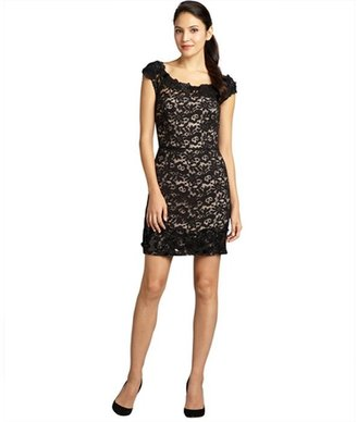 Vera Wang black satin and chantilly lace embellished sleeveless dress