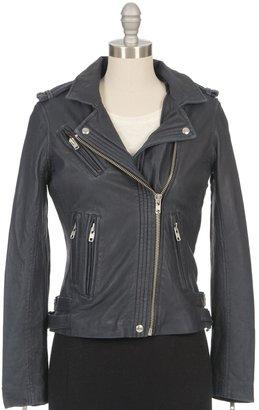 IRO Han Leather Moto Jacket In Navy