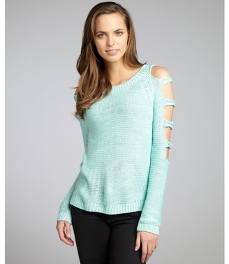 Romeo & Juliet Couture mint knit banded cold shoulder sweater