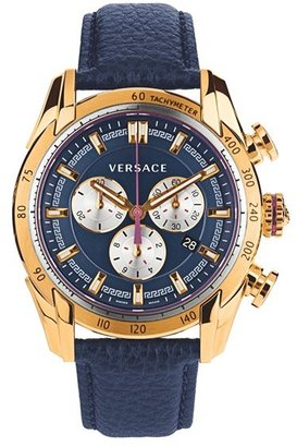 Versace 'V-Ray' Chronograph Leather Strap Watch, 44mm $1,995 thestylecure.com