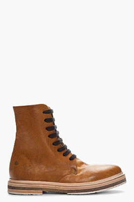 Marsèll Tan Leather Stacked-Sole PARAGRU boots