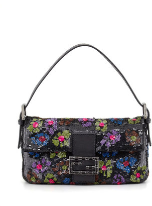 Fendi Baguette Floral Sequin Bag, Black/Multi