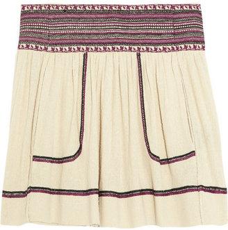 Etoile Isabel Marant Dake embroidered silk-noil mini skirt