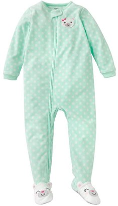 Carter's dotted bear microfleece footed pajamas - toddler