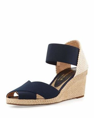 Andre Assous Erika Stretch Espadrille Wedge, Navy $78 thestylecure.com