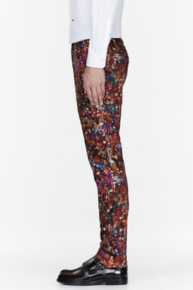 Paul Smith Burgundy marble print trousers