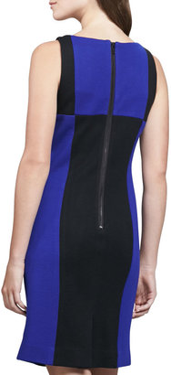 Milly Fitted Colorblock Wool Dress