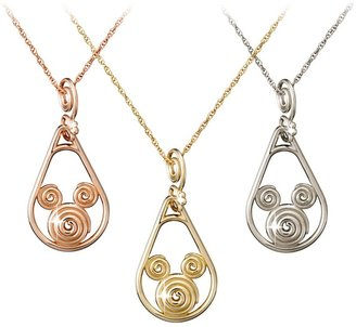 Disney Mickey Mouse Gold Coiled Necklace 18K