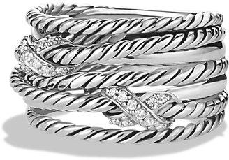 David Yurman Double X Crossover Ring with Diamonds