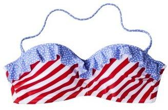 Xhilaration Junior's Bandeau Swim Top -Stars & Stripe Print
