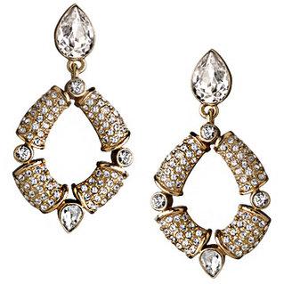 Swarovski MM Crystal Crystal and Bronze Drop Hoop Earrings